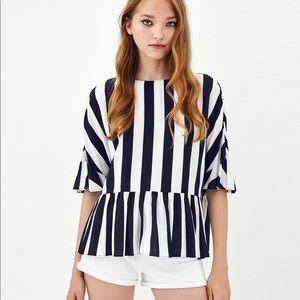 Zara striped top with ruffles